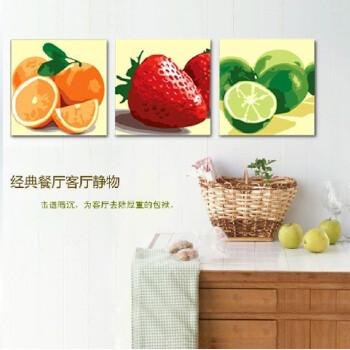 diy手绘数字油画 缤纷水果50 150cm 带内框三联三拼花卉风景客厅餐厅