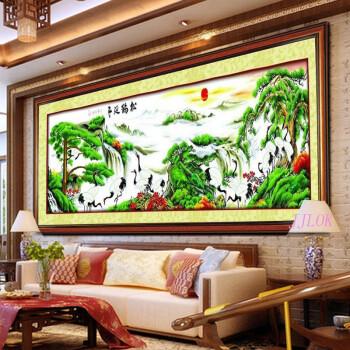 00 精准印花十字绣客厅大画 迎客松仙鹤版 二 大幅客厅最新款图片