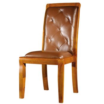 帝诗尼 现代中式家具 咖啡色实木餐椅 真皮软包靠背椅