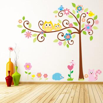 墙贴卧室客厅沙发电视背景墙壁装饰墙贴纸壁纸小鸟梦幻卡通彩色树墙贴