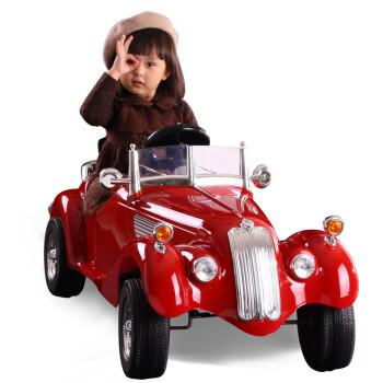 快乐年华老爷车 儿童电动车 四轮可坐带遥控汽车 红色