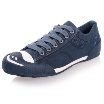 环球帆布鞋学生鞋男鞋男士水洗牛仔低帮笑脸头系带鞋