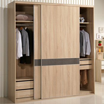 现代简约移门衣柜 推拉门衣柜202 北美怀旧橡木色 现货 H2400mm