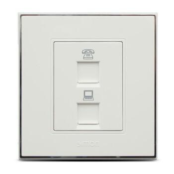 西蒙开关插座56c系列电话加电脑网络信息插座面板v5