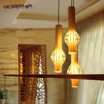 比月东南亚风格客厅餐厅茶楼过道现代简约灯具创意橡木木皮吊灯3128矢