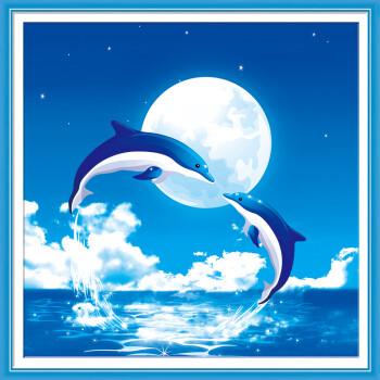 钟爱一生十字绣3d立体精准印花新款客厅挂画月光海豚