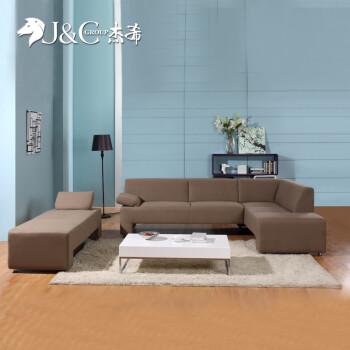 杰希 布艺沙发 独立贵妃位 欧式简约客厅 棉麻沙发 高回弹海绵 991217 图片