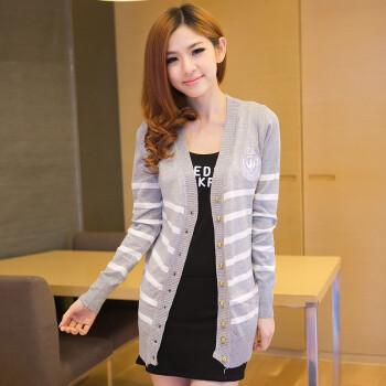 叶2014开衫针织女装秋装新款韩版中长款大码毛衣长袖外套条纹 秋款图片