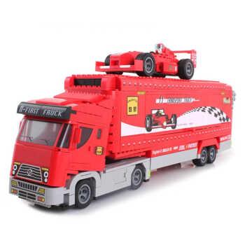 启蒙积木拼装玩具f1运输车
