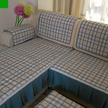 田园风光沙发垫防滑沙发坐垫有套餐 蓝格子 大L型沙发垫套装