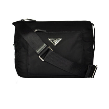 普拉达(prada)男士斜挎包男款黑色帆布斜背包 bt0909图片
