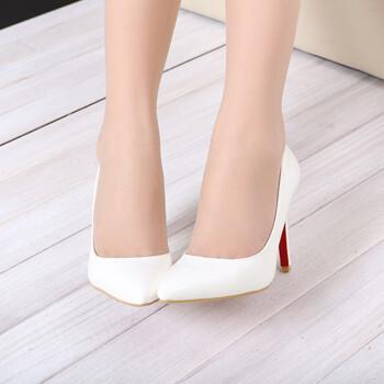 可情小美 高跟鞋超高跟尖头细跟10CM单鞋PU女鞋 K0007 白色 34