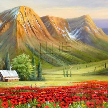 山迪 手绘油画 客厅装饰画 办公室壁画风水画挂画 金山聚宝盆 金山 含