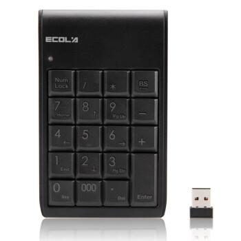 宜客莱(ECOLA) NT-21WL 小精灵2.4GHz无线数字键盘 迷你键盘 财务会计收银专用键盘 超薄(黑色)