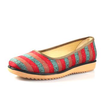 老北京布鞋漱芳斋 复古水砖亮片条纹