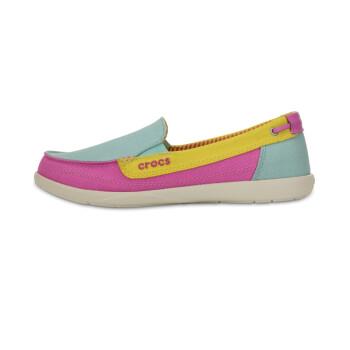 Crocs卡骆驰女士休闲鞋沃尔卢帆布懒人鞋/14391 湖水绿-4U8 W6