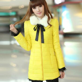 韩版女装修身中长款毛领棉衣女冬装外套纯色拼接棉衣蕾丝下摆大衣女