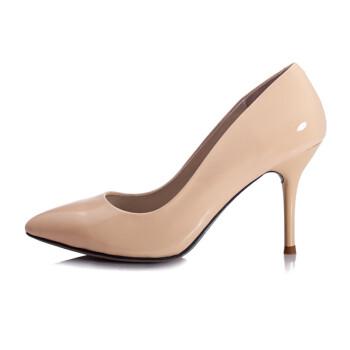 品 全真皮尖头细跟高跟鞋 8.5CM高度水果色 P家 彩色 裸色漆皮 34