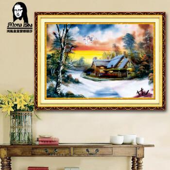 鸿胤皇室蒙娜丽莎十字绣正品专卖满绣地中海风景田园家园客厅十字