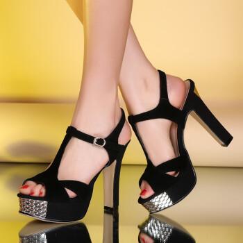 蓉杰雅丝2014年最新款超高跟防水台女士款凉鞋粗跟扣