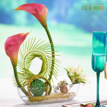 真花套装礼品 欧式马蹄莲 装饰花瓶假花绢花干花客厅家居装饰品摆