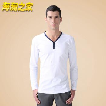 海澜之家 男装2014年春秋新款 撞色V领时尚长袖T恤 HTS1B010 白色