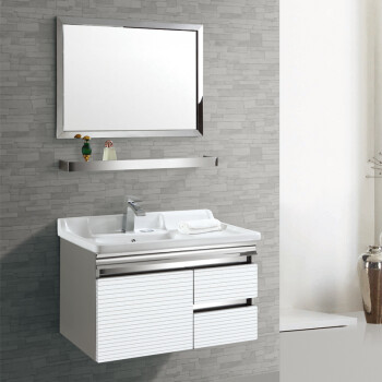 卫浴柜 304不锈钢浴室柜组合 洗脸手盆柜 简约现代 0.8米B3