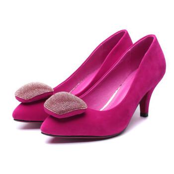 水钻中跟单鞋子 红色 39