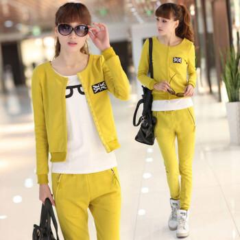 款女装运动休闲卫衣卫裤修身百搭开衫套装 姜黄色 L码
