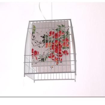 比月 中式鸟笼铁艺中国风宣纸手绘画客厅组合灯餐厅书房吊灯 3078梨花