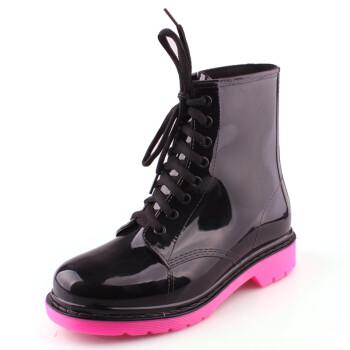 果冻水晶拼色马丁雨鞋雨靴