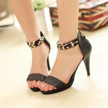 ima新款时尚凉鞋女款高跟头层牛皮细跟高跟凉鞋 黑色 36