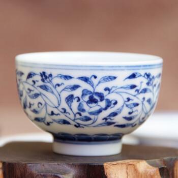 三义成景德镇手绘青花瓷仿古缠枝莲小罗汉杯茶杯茶具