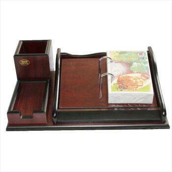 信发(TRNFA) TN-913 木质仿红木台历架 木质笔筒名片组合台历架办公摆件
