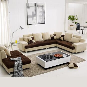 现代时尚简约布艺沙发 贵妃组合沙发 大中小户型布沙发 灰色 紫色 图片