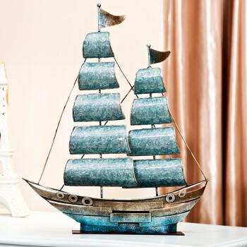 正想 珐琅金属工艺品帆船装饰摆件一帆风顺家居饰品摆设 大号珐琅蓝