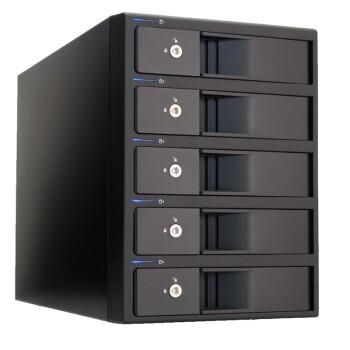世特力(Century) 裸族CRIB535EUF 五盘位硬盘盒3.5英寸SATA 磁盘阵列RAID USB3.0+eSATA+1394a/b火线 黑色