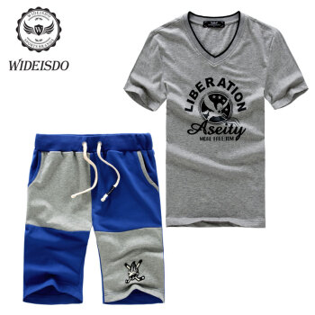 未都运动套装男夏季新款短袖套装男士休闲运动服套装短T短裤男式套