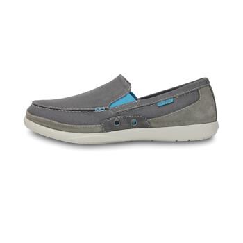 Crocs卡骆驰男士休闲鞋风尚沃尔卢帆布懒人鞋/14392 炭灰/电光蓝-0H1 M7