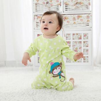 睡衣 婴儿衣服 分腿睡袋 宝宝 绿色小猴子 6m(衣长57cm