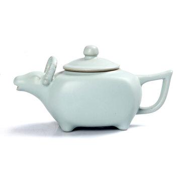 郑品 汝窑开片茶壶 功夫茶具茶壶 汝窑茶具 汝窑茶壶 陶瓷茶壶 牛转乾坤壶