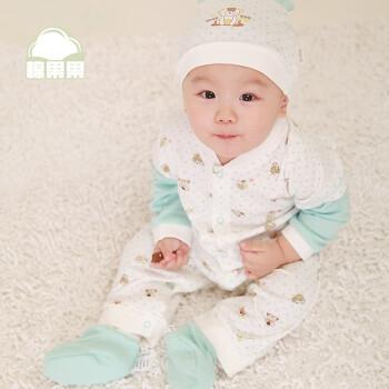 棉果果宝宝纯棉开档哈衣帽子套装婴儿衣服 新生儿连体