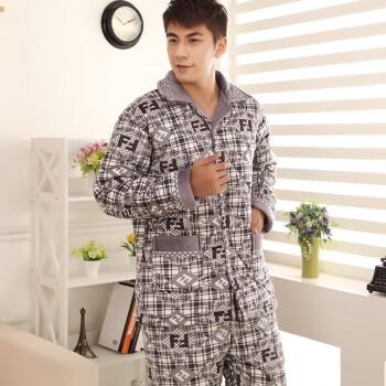 款 秋冬季长袖男士夹棉睡衣加厚套装冬款珊瑚绒夹棉家居服 男夹棉