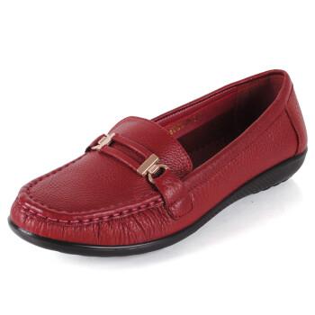 头层牛皮妈妈平底单鞋