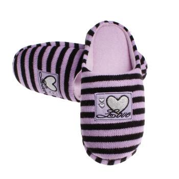 家居鞋条纹针织毛线love心心图案居家棉拖鞋yzst015