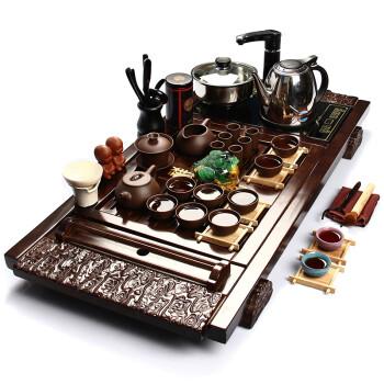 郑品 整套茶具 陶瓷茶具实木茶盘套装 功夫紫砂茶具茶盘BJZVV24K 杯架祥云石瓢紫砂套装