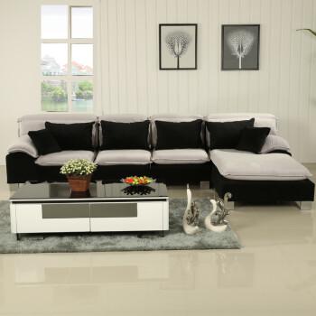 休闲布艺沙发组合现代 三人转角布沙发 天空灰 三人位 左贵妃图片