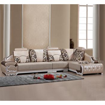 邦美居欧式皮布沙发皮布结合沙发组合皮布转角沙发皮配布沙发特价