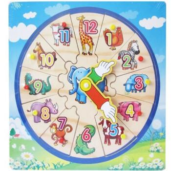haobei皓贝动物时钟板幼儿童早教认知手抓板智力拼图拼板木制抓手板
