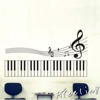 五线谱音乐教室舞蹈室客厅布置贴纸装饰f21黑色小